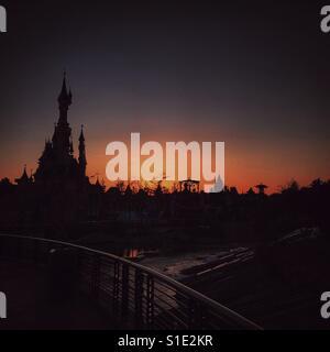 Sunset at Disneyland Paris - Stock Photo