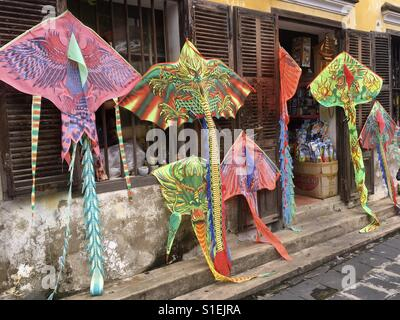 Traditional kites in a gift shop for sale. Hoi An, Vietnam. - Stock Photo