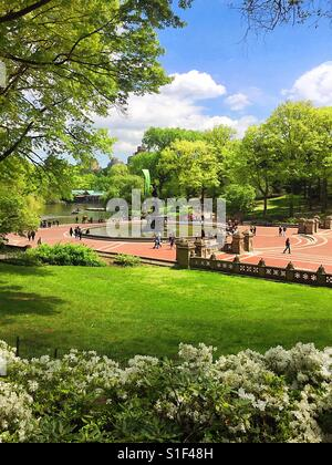 Tourists at  Bethesda terrace  and fountain in the spring time, Central Park, NYC, USA - Stock Photo