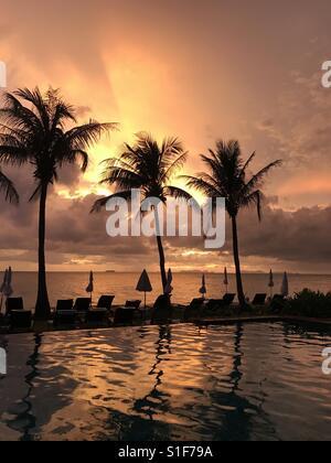 Sunset on Long Beach Koh Lanta, Thailand - Stock Photo