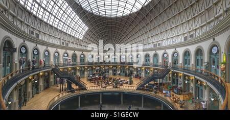 Inside of Leeds corn exchange, Leeds city centre, Yorkshire, U.K. - Stock Photo