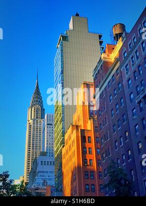 View of the Chrysler building looking north on Lexington Ave., Manhattan, NYC, USA. - Stock Photo