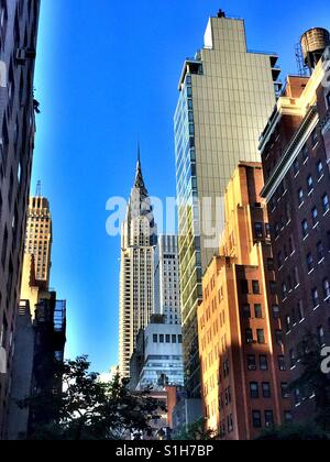 View of the Chrysler building looking north on Lexington Ave., Manhattan, NYC, USA - Stock Photo