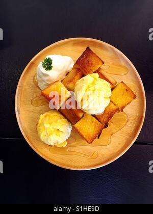 Honey toast with ice cream - Stock Photo