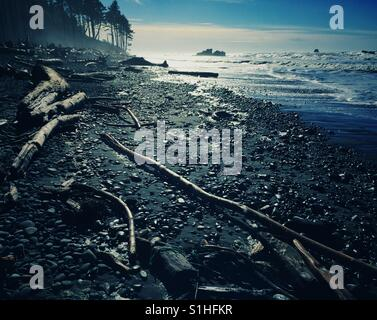 Famous Ruby Beach on the Pacific Coast of Olympic Peninsula, WA, USA - Stock Photo