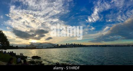 Sydney Harbour Sunset from Mrs. Macquarie's Chair - Stock Photo