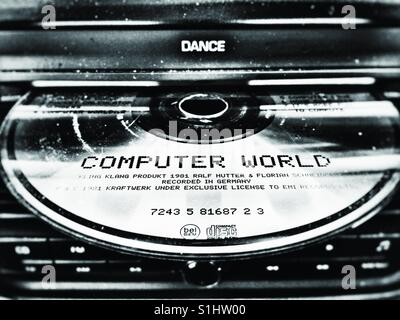 Computer World by Kraftwerk compact disc in car entertainment - Stock Photo