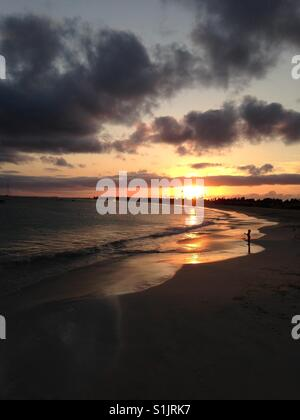 Sunset over the island of Sal in Cape Verde - Stock Photo