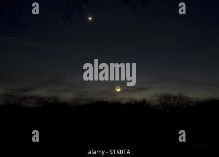 Venus & the moon - Stock Photo