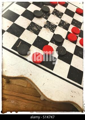 Old checkerboard table - Stock Photo