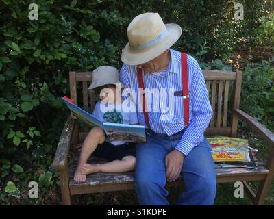 Story with Grandad - Stock Photo