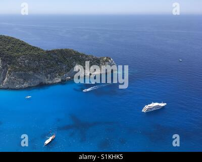 View over Ionian Sea, at Navagio beach, on the island of Zakynthos, in Greece - Stock Photo