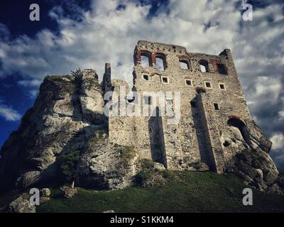 Ogrodzieniec Castle ruins, one of castles of so called Trail of the Eagles Nests, in Podzamcze village in Poland - Stock Photo