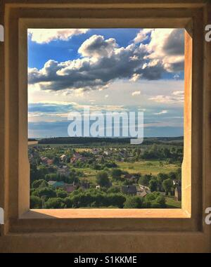View from window of Ogrodzieniec Castle ruins, one of castles of so called Trail of the Eagles Nests, in Podzamcze - Stock Photo