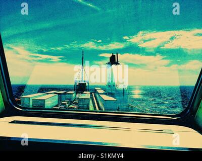 View through window on ferry across the Cabot Strait from Nova Scotia to Newfoundland, Canada - Stock Photo