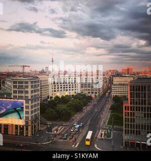 View over Leipziger Platz as the sun begins to set in Berlin, Germany in August 2017. - Stock Photo