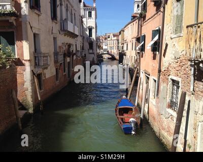 Quiet canal in Venice, Italy (landscape orientation). Taken by Matthew Oakes. - Stock Photo