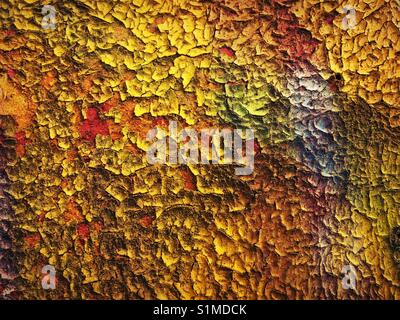 Abstract patterns of colors from perling paint on wood wall - Stock Photo
