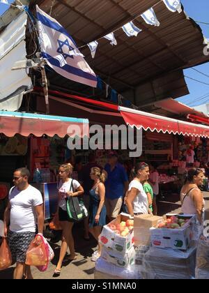 Shoppers at Carmel Market, Tel Aviv, Israel - Stock Photo