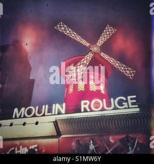 The famous Moulin Rouge, Paris, France - Stock Photo
