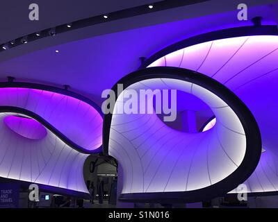 Interior of the Mathematics Winton Gallery, Science Museum, London designed by Zaha Hadid Architects - Stock Photo