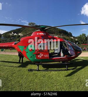 Wales Air Ambulance helicopter - Stock Photo
