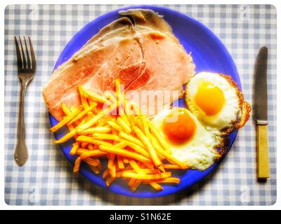 Ham eggs and chips - Stock Photo