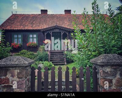 Traditional masurian cottage in piecki town masuria region in poland stock photo royalty free - Traditional polish houses wood mastership ...