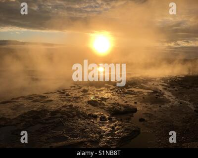 Geysir Hot springs, Iceland - Stock Photo