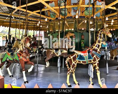Iconic antique carousel in Centreville on the Toronto Islands. - Stock Photo