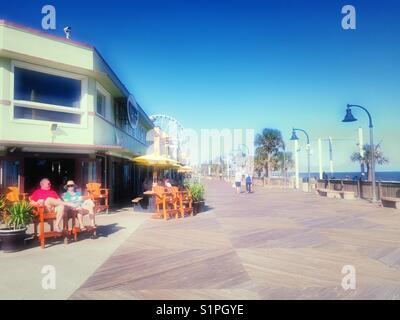Oceanfront Boardwalk shops and bars, Myrtle Beach, South Carolina, USA - Stock Photo