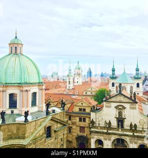 View from the Old Town Bridge Tower in Prague, Czech Republic. Taken on October 2, 2017. - Stock Photo
