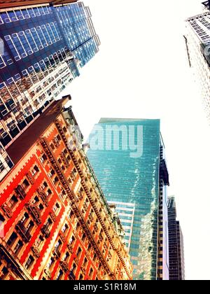 Skyscrapers and the Knickerbocker hotel in times square, NYC, USA - Stock Photo