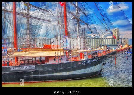 Oosterschelde a Dutch 3 masted topsail schooner built in 1918 taking part in the Rendez-vous 2017 Tall Ships Regatta, - Stock Photo
