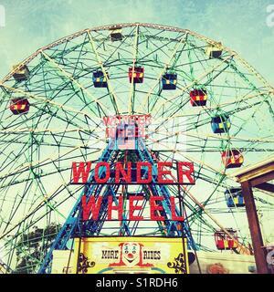 Deno's wonder wheel, Coney Island, Brooklyn, New York, United States of America. - Stock Photo