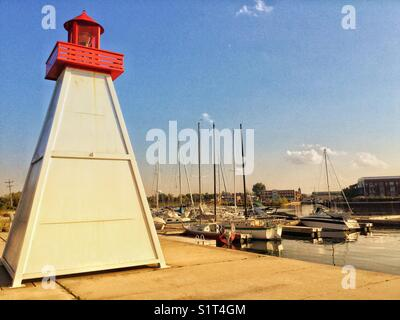 Lighthouse on the Collingwood, Ontario pier. - Stock Photo