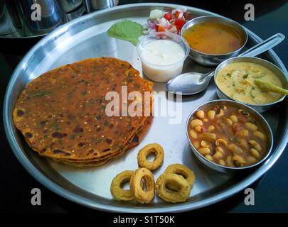 Indian Gujarati food thali !! - Stock Photo