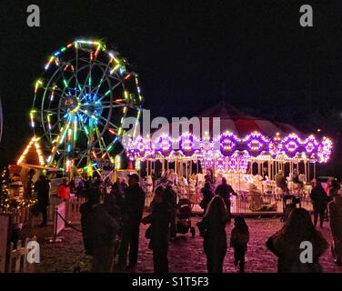 Bright lights at the midway, Toronto's Christmas Market at The Distillery. - Stock Photo
