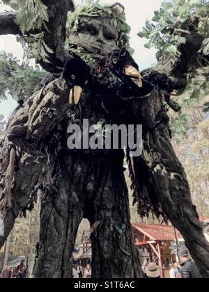 Tree man with crows at Renaissance festival- North Carolina 2017 - Stock Photo