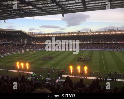 Murrayfield International Rugby pre-match entertainment, Edinburgh, Scotland. - Stock Photo