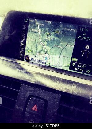 In car sat nav - Stock Photo