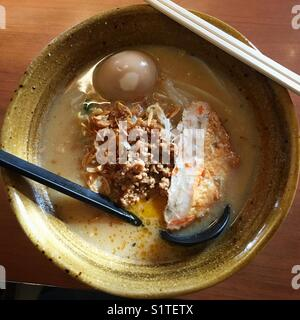 A bowl of Japanese miso ramen. - Stock Photo