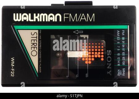 Classic Sony 1980s cassette radio Walkman personal stereo system. - Stock Photo