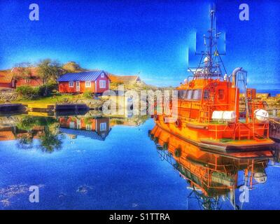 Pilot boat docked in Vasterhamn (west harbour) on the island of Oja at the southern end of the Stockholm archipelago, - Stock Photo