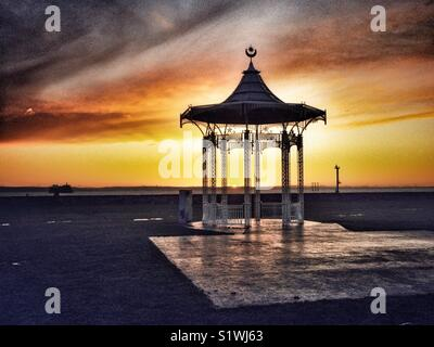 Sunset behind Bandstand, West Battery Gardens, Southsea, Portsmouth, Hampshire, England, UK - Stock Photo