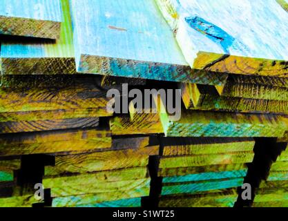 Colorful stack of sawed planks - Stock Photo