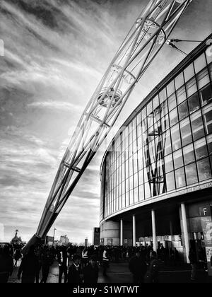 Detail of the arch at Wembley Stadium on a match day, London, England, UK. - Stock Photo
