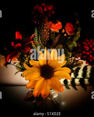 Still life flowers in glass vase - Stock Photo
