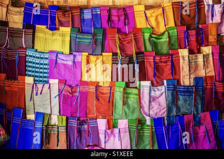 Colorful scarves made by Padaung women, Inle Lake, Myanmar - Stock Photo