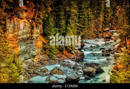 Sunwapta River, Jasper National Park, Alberta, Canada - Stock Photo